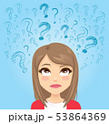 Teenager girl head looking up question symbols 53864369