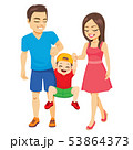 Family walking with toddler boy father and mother 53864373