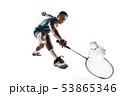Little boy playing badminton isolated on white studio background 53865346