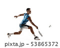 Little boy playing badminton isolated on white studio background 53865372