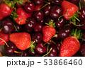 fruit background of fresh strawberries and cherries 53866460