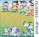 象と散歩している迷路 53869792