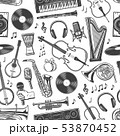 Music seamless pattern, musical band instruments 53870452