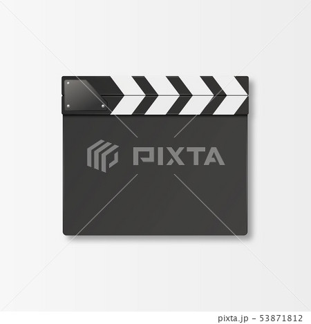 Vector 3d Realistic Closed Movie Film Clap Board Icon Closeup Isolated on White Background. Design 53871812