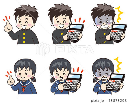 電卓を使う中高生の男女 53873298