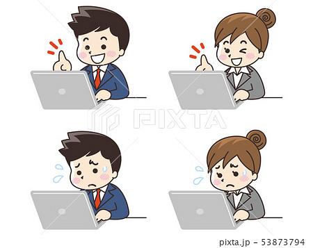 ノートパソコンを使うビジネスマンとビジネスウーマン 53873794