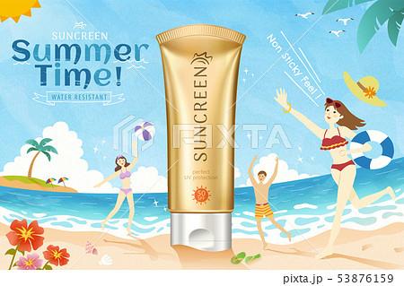 Golden color sunscreen ads 53876159