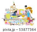 汚部屋 部屋 女性のイラスト 53877364