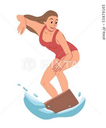 Girl surfing, riding on the water. Summer leisure. 53879165