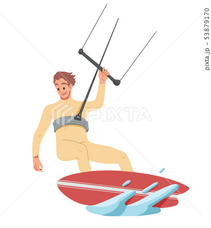Man surfing, riding on the water. Summer leisure. 53879170
