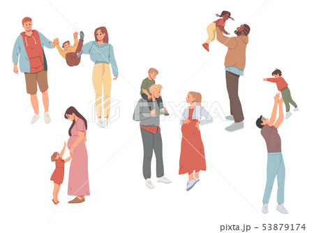 Family outdoors recreational activities. Mother, father and children walking together. 53879174