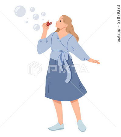 Young woman blowing soap bubbles Vector illustration. 53879233