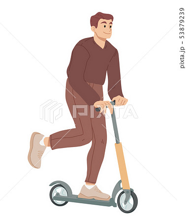 Man ride on scooter. Summer leisure activity Vector. 53879239
