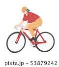 Woman riding bicycle, girl on bike vector. 53879242