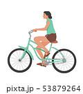 Girl riding bicycle, woman on bike vector 53879264