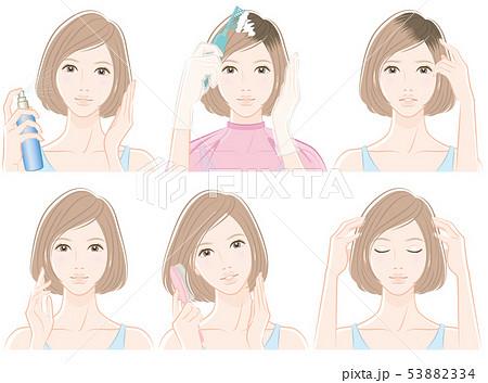 ヘアケアをしている女性のイラスト 53882334