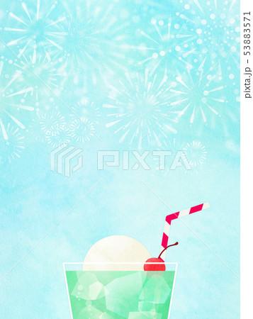 背景-夏-花火-クリームソーダ-和-和風-和紙-和柄 53883571