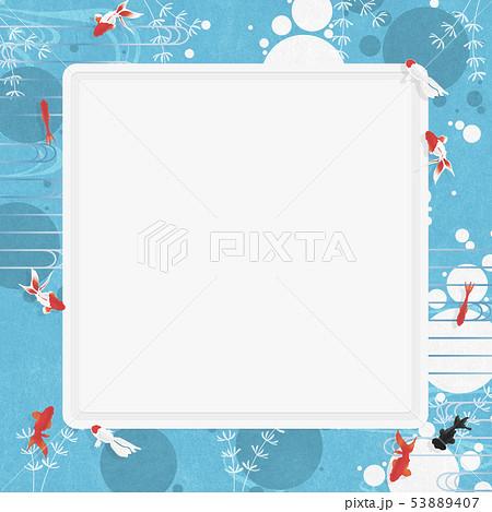 ホワイトボード-夏イメージ-和モダン-水玉-金魚-アクアリウム 53889407