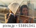 Silhouette couple prewedding under umbrella 53891341