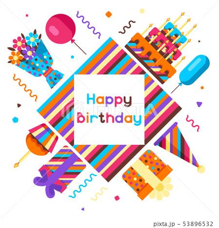 Happy Birthday Greeting Card Á®ã'¤ãƒ©ã'¹ãƒˆç´æ 53896532 Pixta