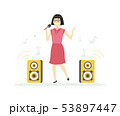 Chinese girl singing - cartoon people characters illustration 53897447