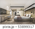 bedroom suite in hotel with tv and working table 53899317