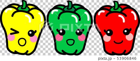 辣椒粉Pi-Man 3種顏色字符蔬菜 53906846