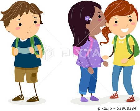 Stickman Kids Gossiping Illustration 53908334