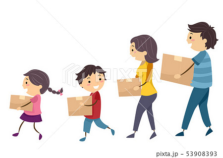 Stickman Family Carry Box Walk Move In 53908393