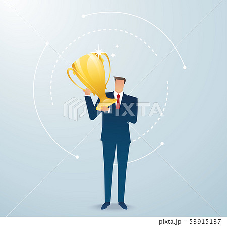 businessman hold the gold trophy successful winner 53915137