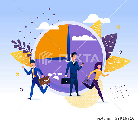 Business People are Late to Work with Big Clock. 53916516