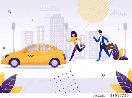 Girl and Businessman Running to Get Yellow Taxi. 53916730