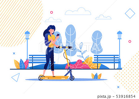 Cartoon Woman Riding Scooter Holding Mobile Phone. 53916854