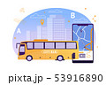 City Bus with Map Application on Mobile Phone. 53916890