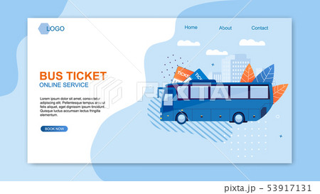 Bus Ticket Online Service Web Design Flat Cartoon. 53917131