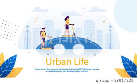 Cartoon Couple Riding over Bridge in Park Flat. 53917229