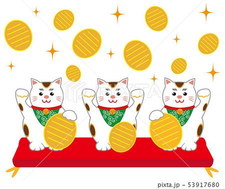猫 招き猫 座布団 小判 53917680