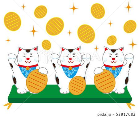 猫 招き猫 座布団 小判 53917682
