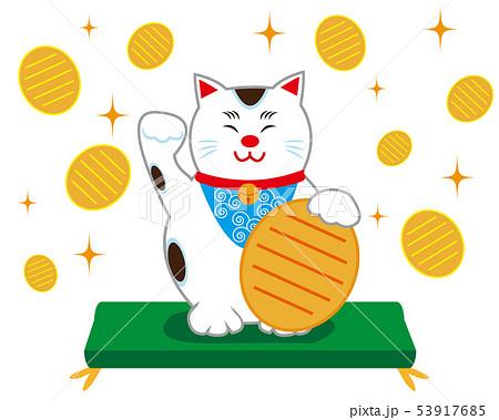 猫 招き猫 座布団 小判 53917685