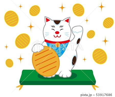 猫 招き猫 座布団 小判 53917686