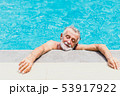 old man athlete exhausted from swimming hot day 53917922