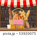 Bread products and market stall. 53920075