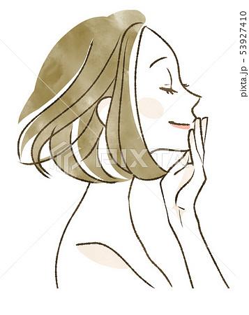 微笑む女性-目を閉じる 53927410