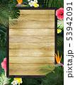 背景-夏-熱帯-トロピカル-モンステラ-プルメリア-ハイビスカス-木製フレーム 53942091