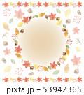 秋の手描き水彩風フレーム 53942365