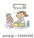 夏 熱中症 エアコンのある部屋にいる母と子 53944306