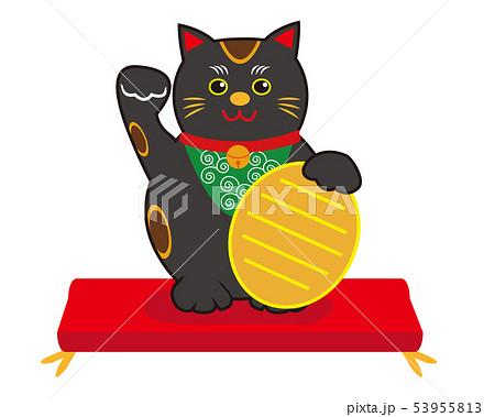 猫 招き猫 座布団 小判 黒猫 53955813