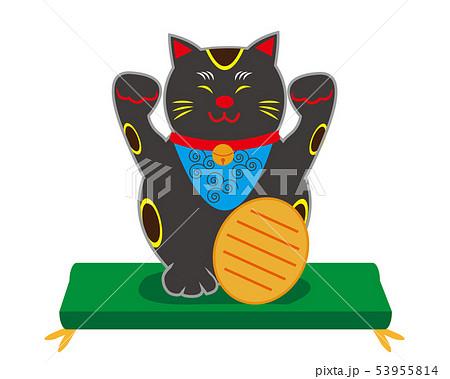 猫 招き猫 座布団 小判 黒猫 53955814