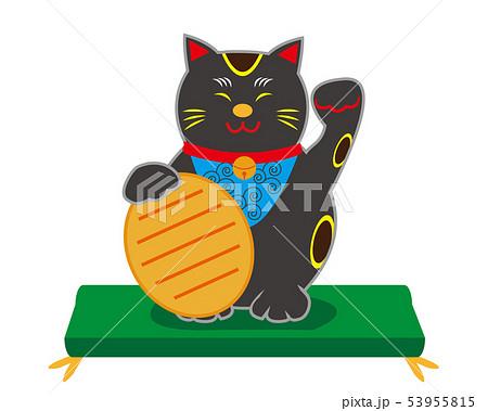 猫 招き猫 座布団 小判 黒猫 53955815
