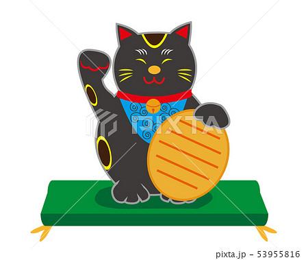猫 招き猫 座布団 小判 黒猫 53955816